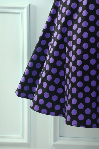 V-neck Black Purple Dots Dress