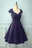 Load image into Gallery viewer, V-neck Black Purple Dots Dress