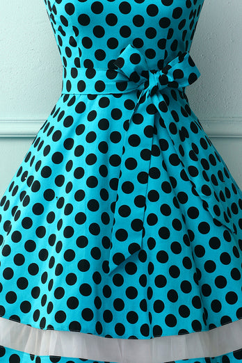 Blue Black Dots Dress with Tulle