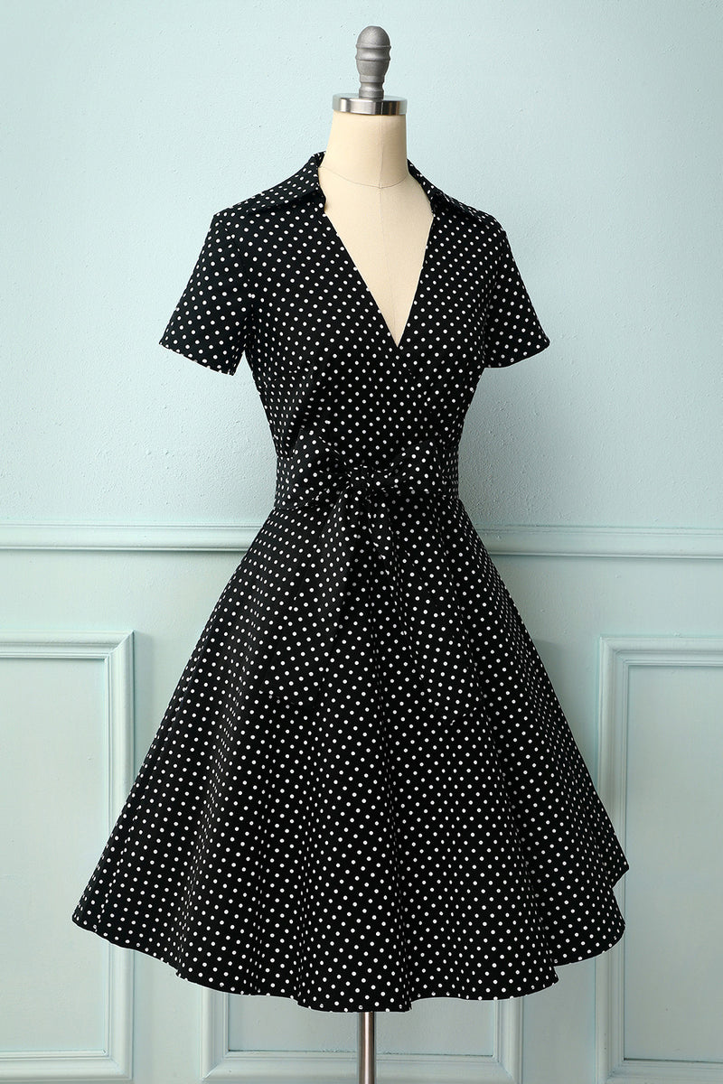 Load image into Gallery viewer, V-neck Polka Dots Swing Dress