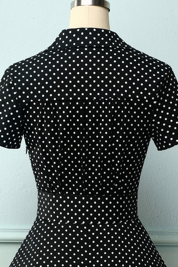 V-neck Polka Dots Swing Dress