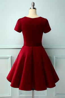 Burgundy 50s Dress with Sleeves
