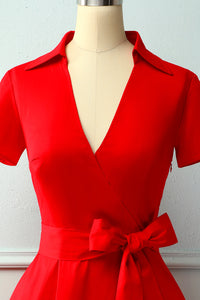 Red V-neck Solid Dress