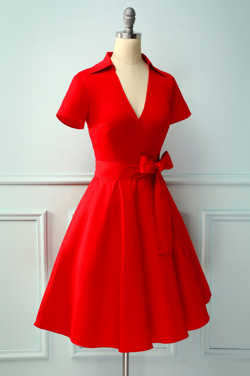 Load image into Gallery viewer, Red V-neck Solid Dress
