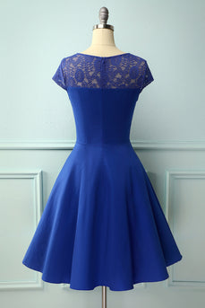 V-neck Swing 1950s Dress with Lace