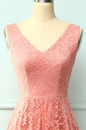 Blush Lace Asymmetrical Dress