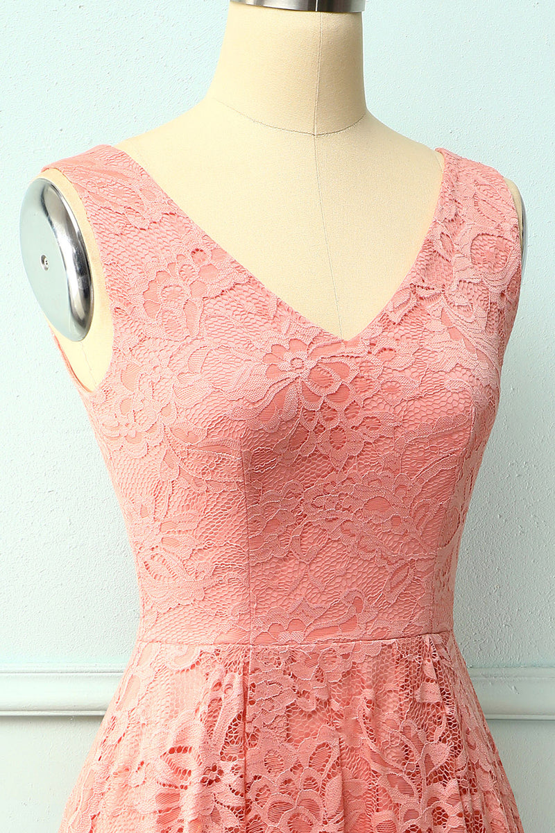 Load image into Gallery viewer, Blush Lace Asymmetrical Dress