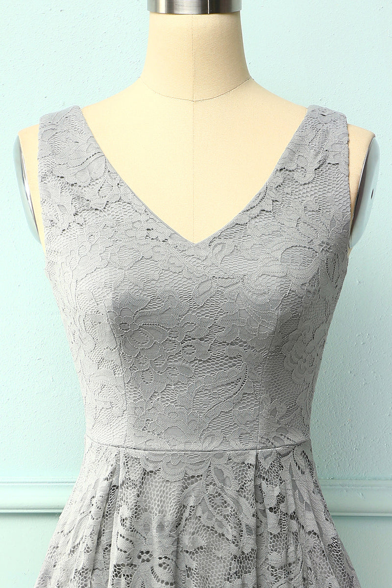Load image into Gallery viewer, Grey Lace Asymmetrical Dress