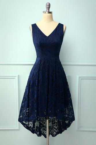 Navy Lace Asymmetrical Dress