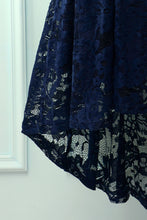 Load image into Gallery viewer, Navy Lace Asymmetrical Dress