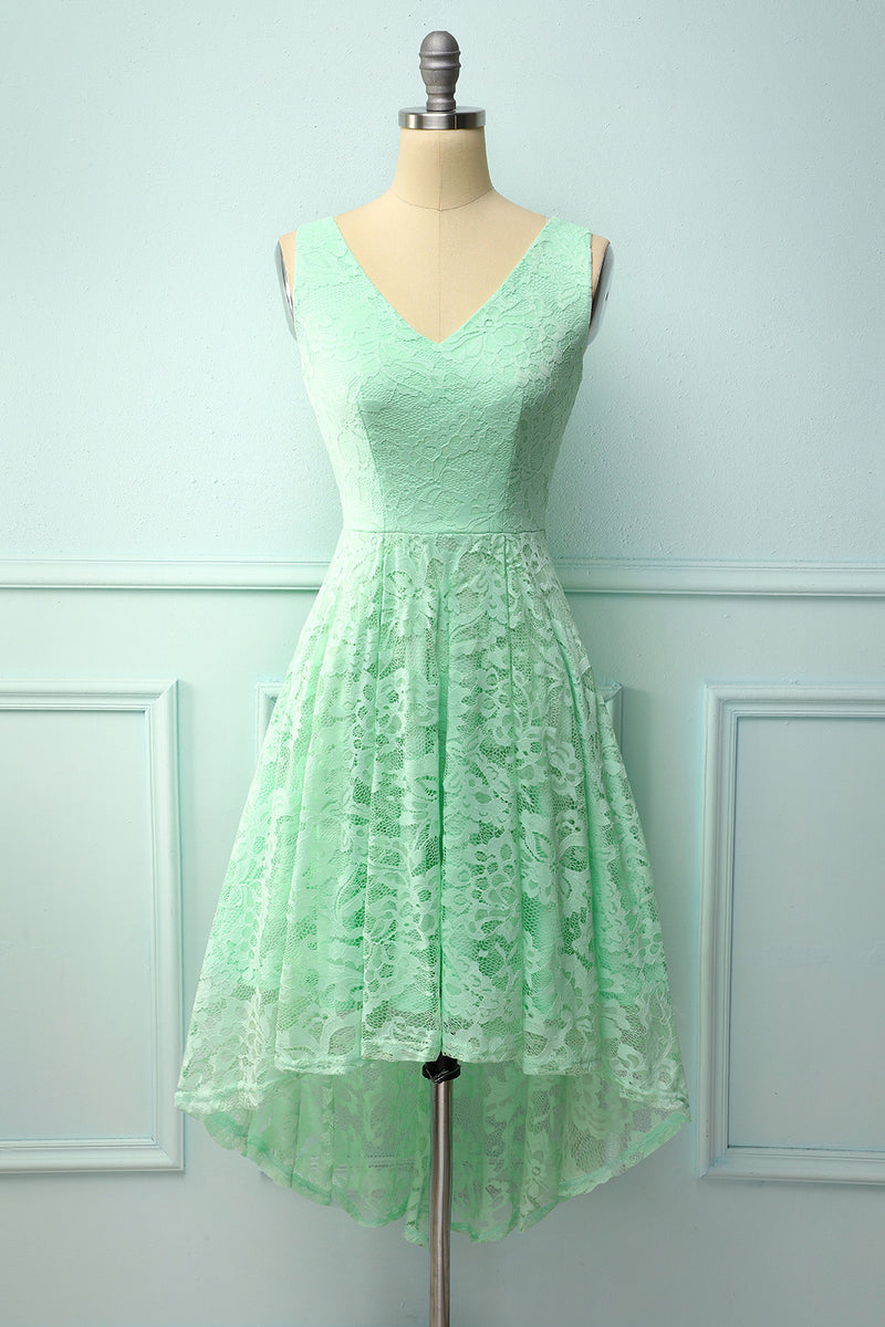 Load image into Gallery viewer, Mint Lace Asymmetrical Dress