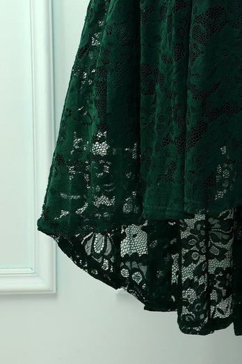 Green Lace Asymmetrical Dress