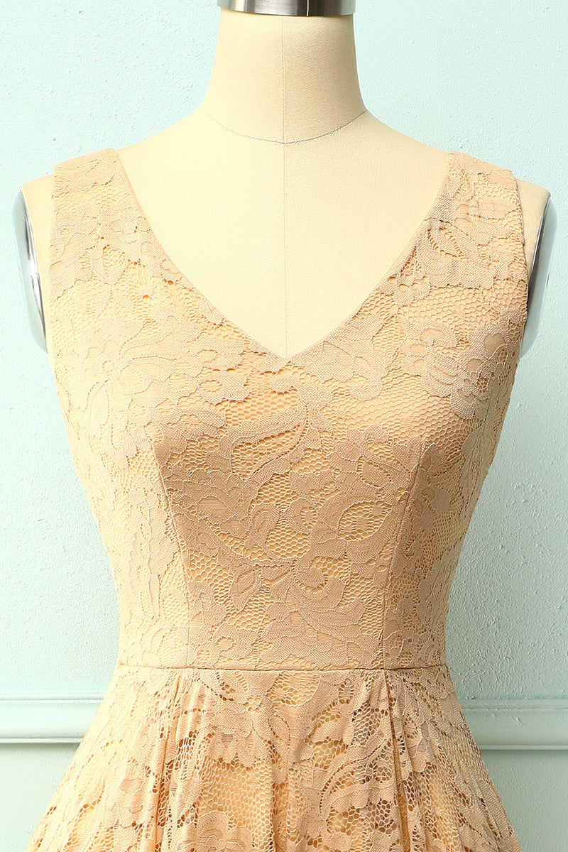 Load image into Gallery viewer, Champagne Lace Asymmetrical Dress