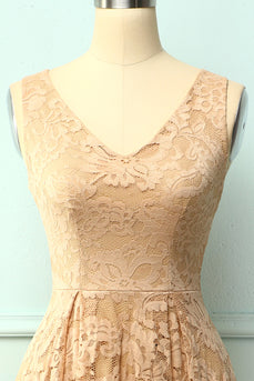 Lace Champagne Asymmetrical Dress