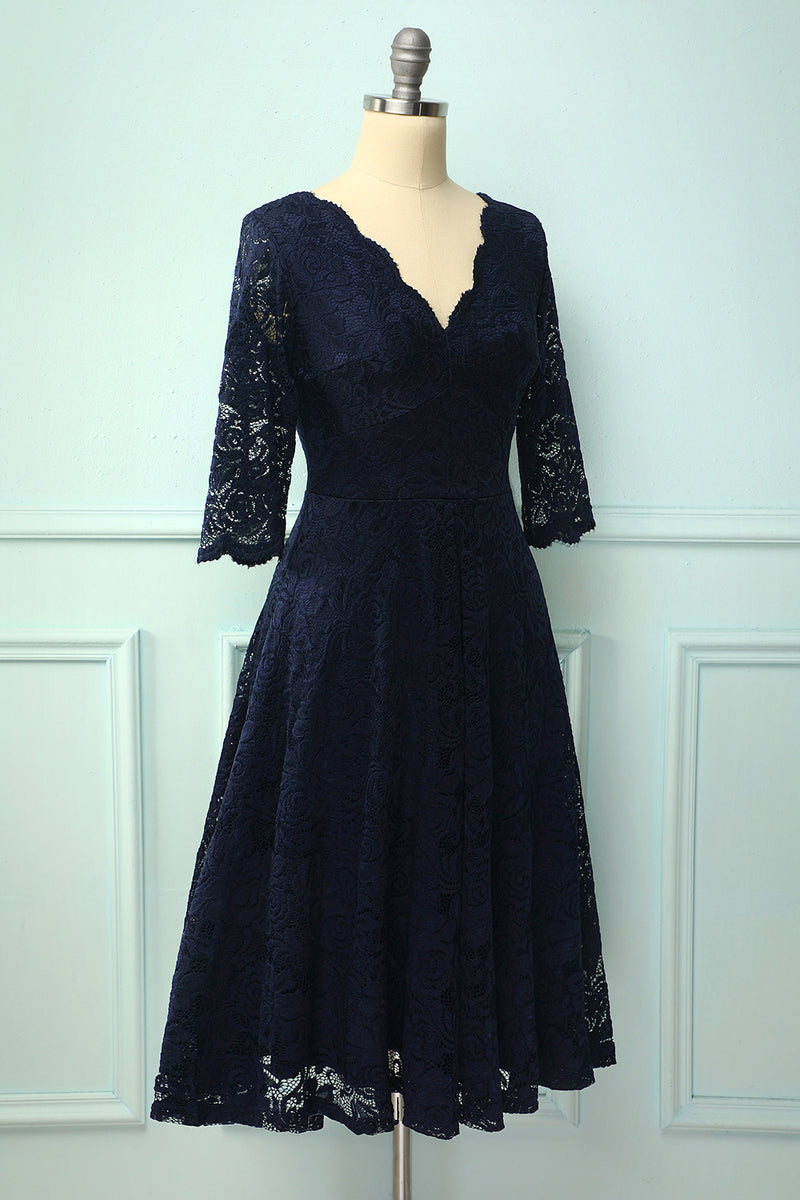 Load image into Gallery viewer, Navy 3/4 Sleeves Formal Dress