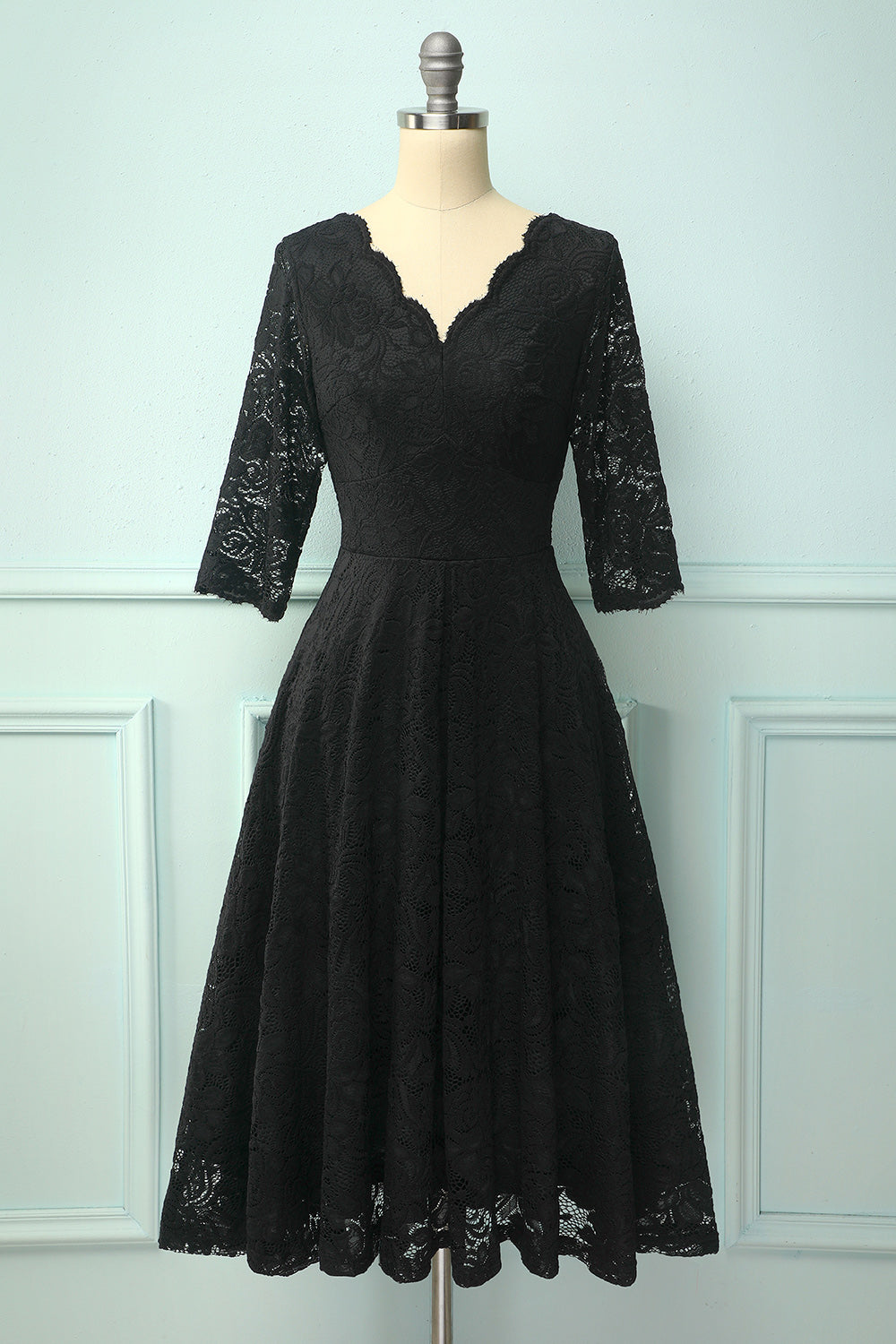 Black 50's Style 3/4 Sleeves V-Neck Formal Dress