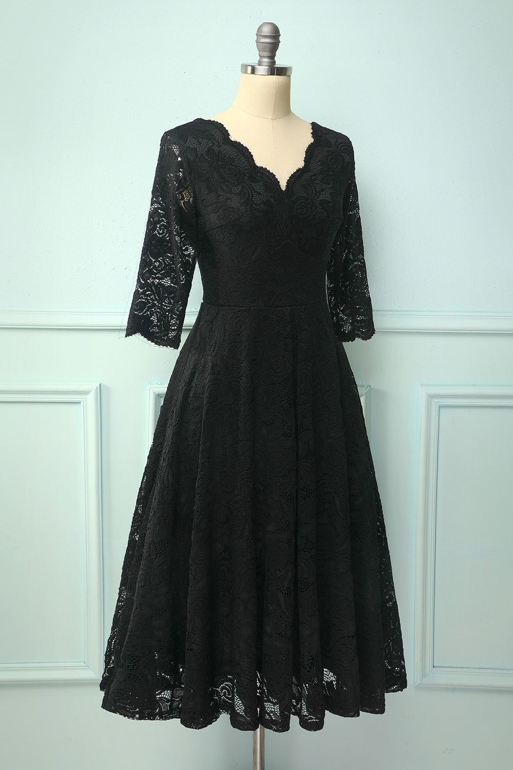 Black 3/4 Sleeves Formal Dress