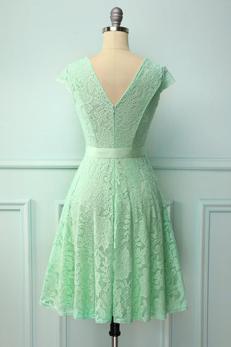 Mint Lace V-neck Dress