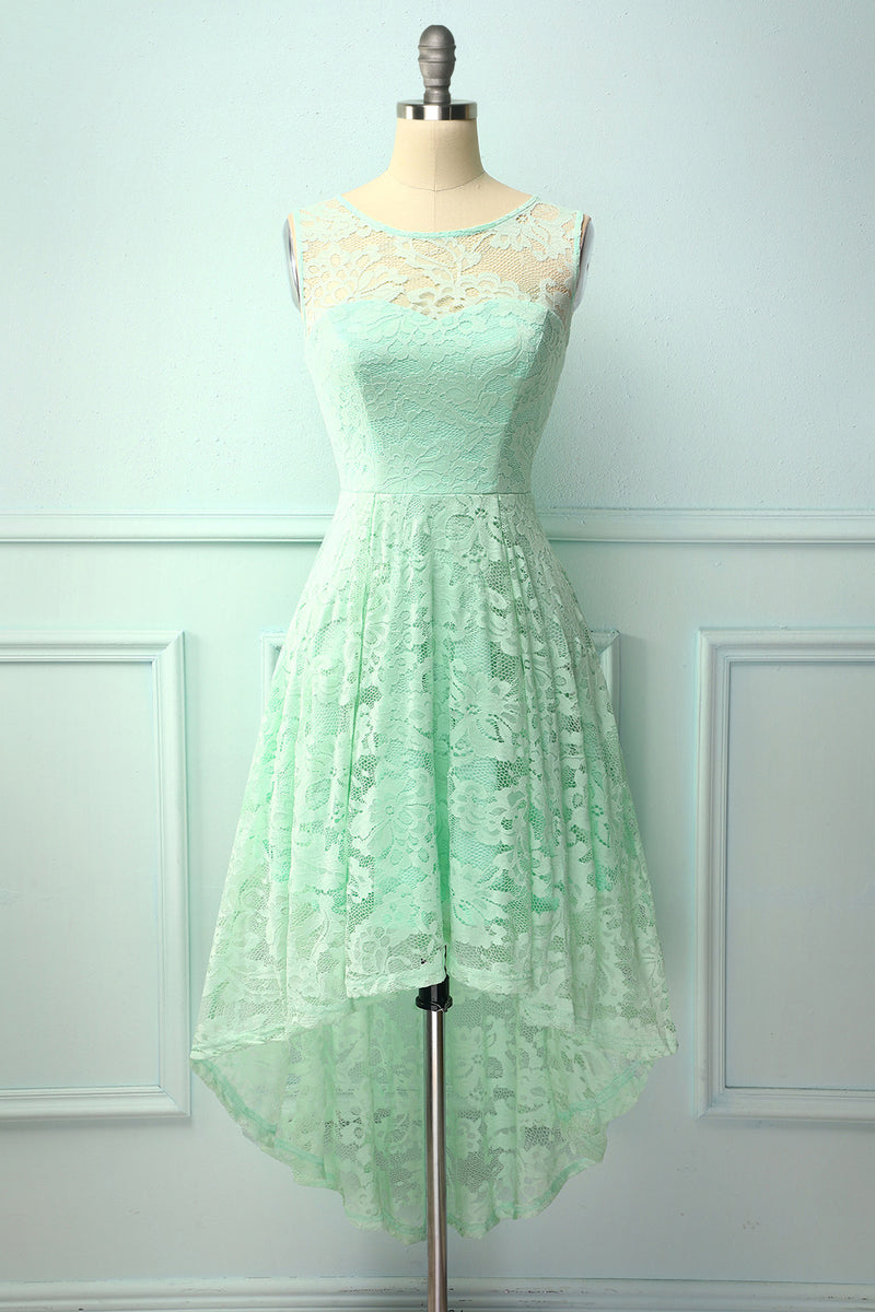 Mint A Line Round Neck High Low Sleeveless Lace Party