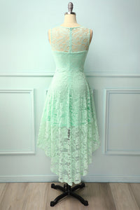 Asymmetrical Mint Lace Dress