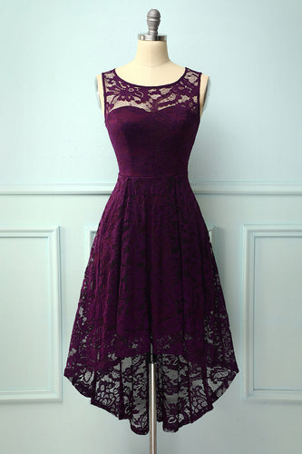 Asymmetrical Grape Lace Dress