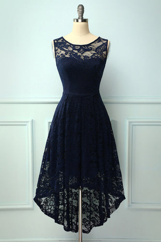 Asymmetrical Navy Lace Dress