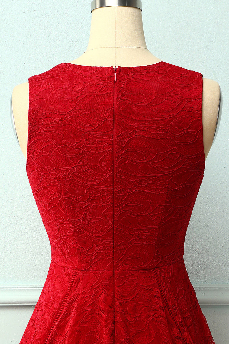 Load image into Gallery viewer, Dark Red Asymmetrical Lace Dress