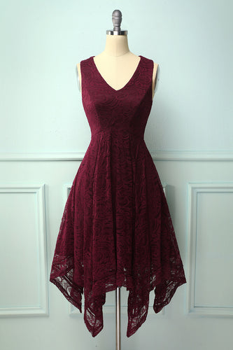 Burgundy Asymmetrical Lace Dress