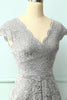 Load image into Gallery viewer, Grey V Neck Midi Lace
