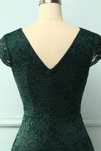 Load image into Gallery viewer, Dark Green V Neck Midi Lace