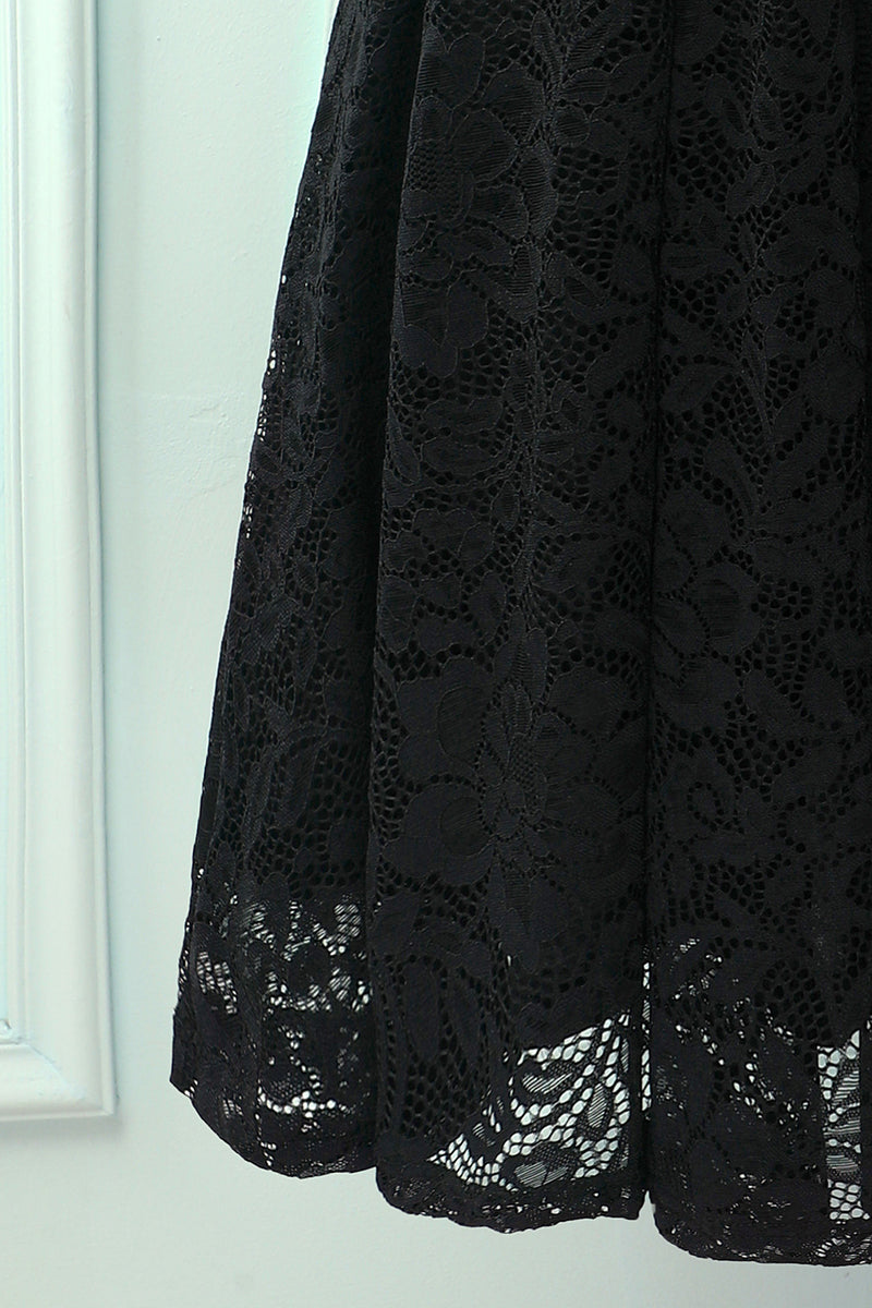 Load image into Gallery viewer, Black Halter Lace Midi