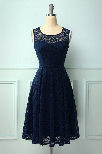 Navy Midi Lace Dress