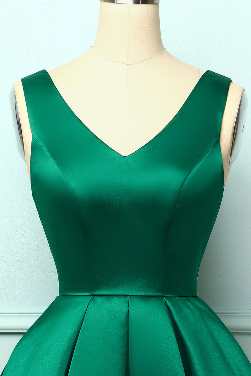 Load image into Gallery viewer, Satin Green Ball Homecoming Dress