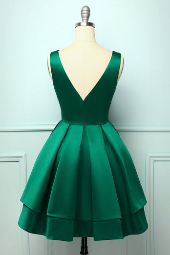 Satin Green Ball Homecoming Dress