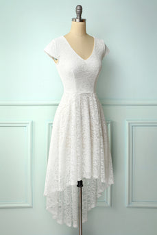 White High Low Lace Dress