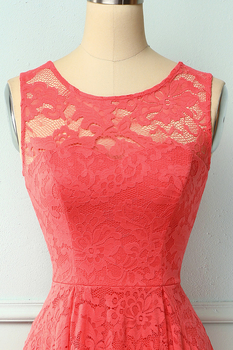Load image into Gallery viewer, Coral High Low Lace Party Dress