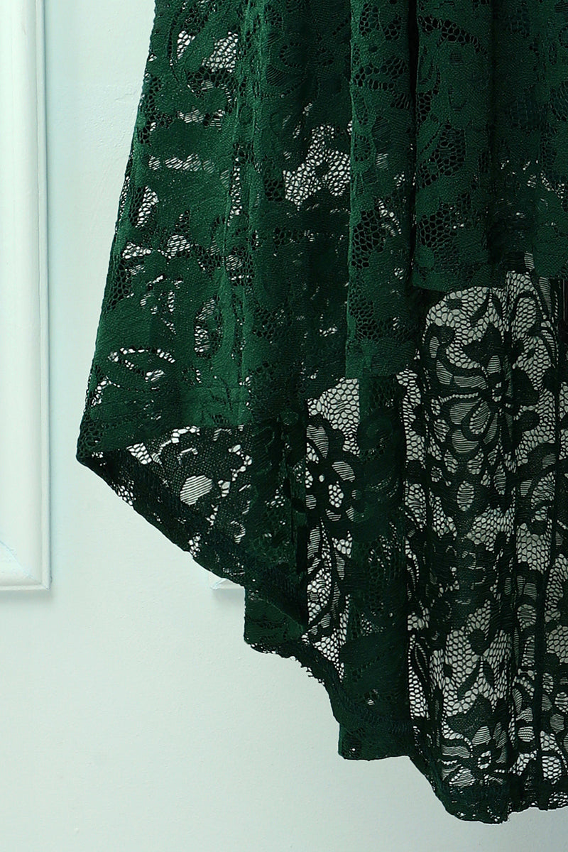 Load image into Gallery viewer, Dark Green High Low Lace Party Dress