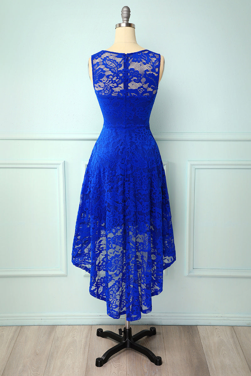 Load image into Gallery viewer, Blue High Low Lace Party Dress