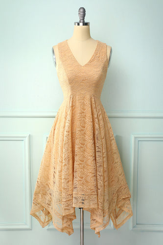 Asymmetrical Champagne V-neck Lace Dress