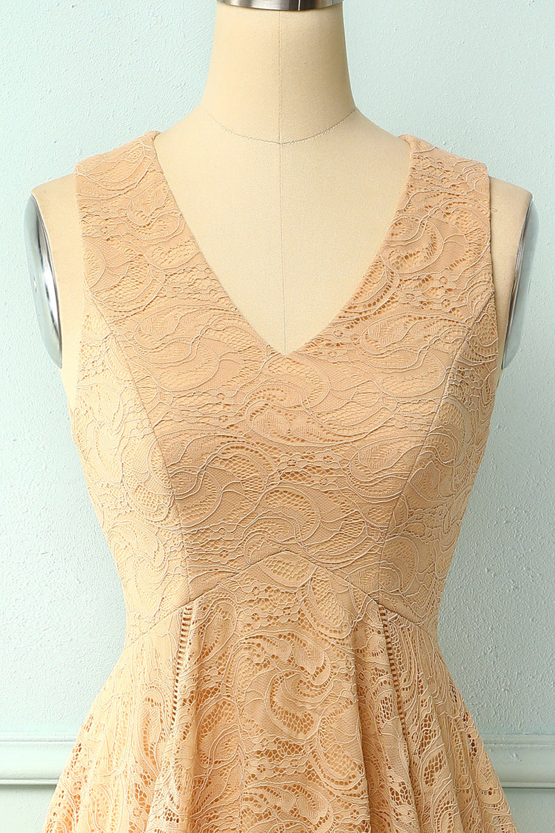 Load image into Gallery viewer, Asymmetrical Champagne V-neck Lace Dress
