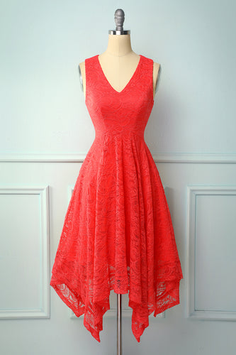 Asymmetrical Red V-neck Lace Dress