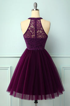 Purple Halter Lace Dress
