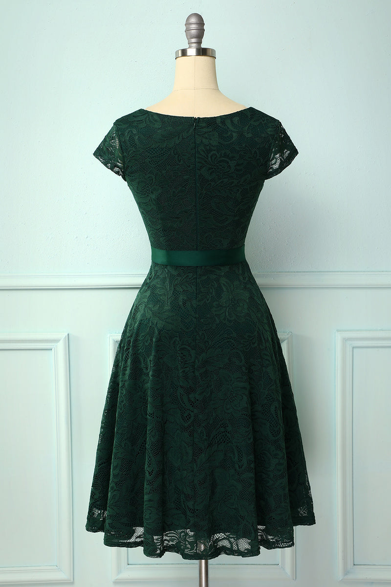 Load image into Gallery viewer, Green V Neck Bridesmaid Lace Dress