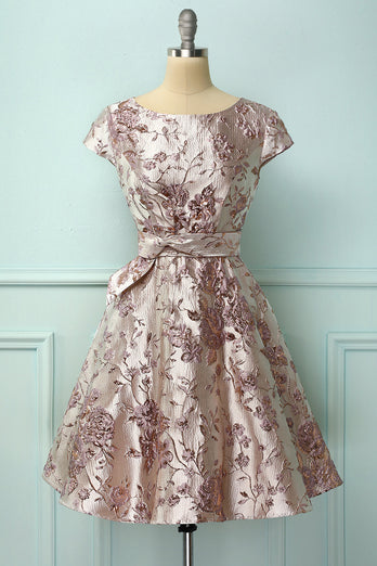 1950s Embroidery Satin Dress