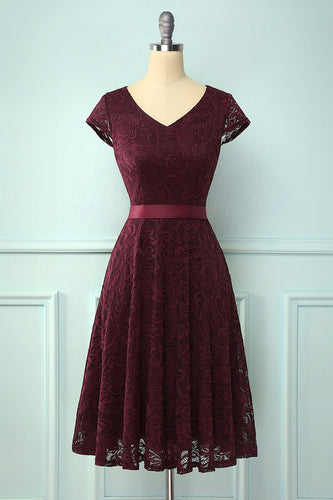 Burgundy V Neck Bridesmaid Lace Dress