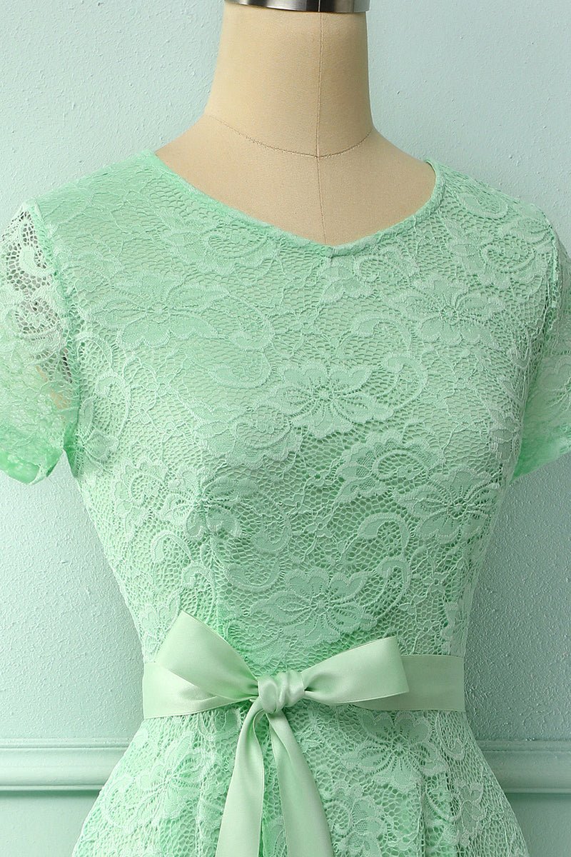 Load image into Gallery viewer, Mint Green Short Sleeves Lace Dress