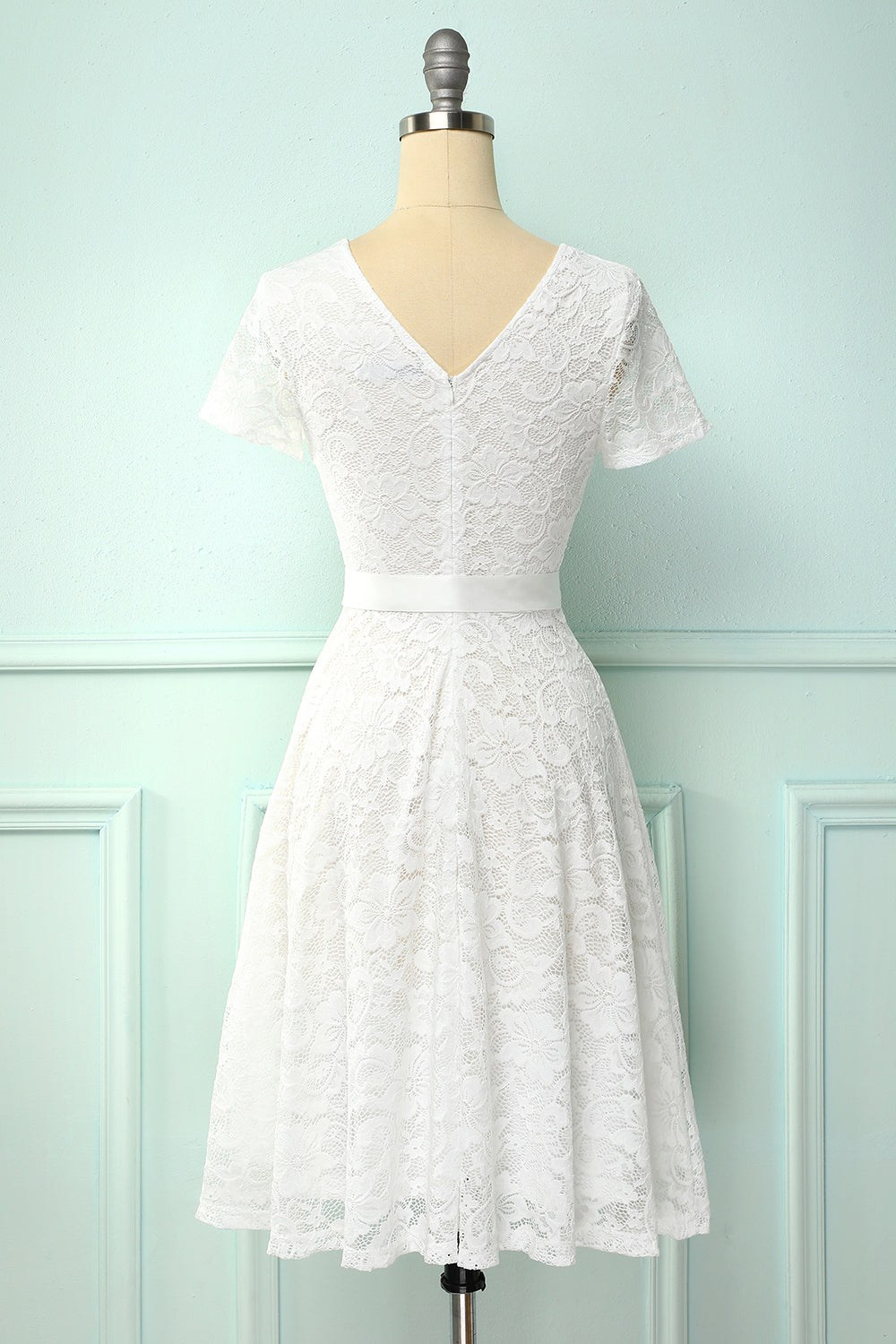 White Short Sleeves Lace Dress