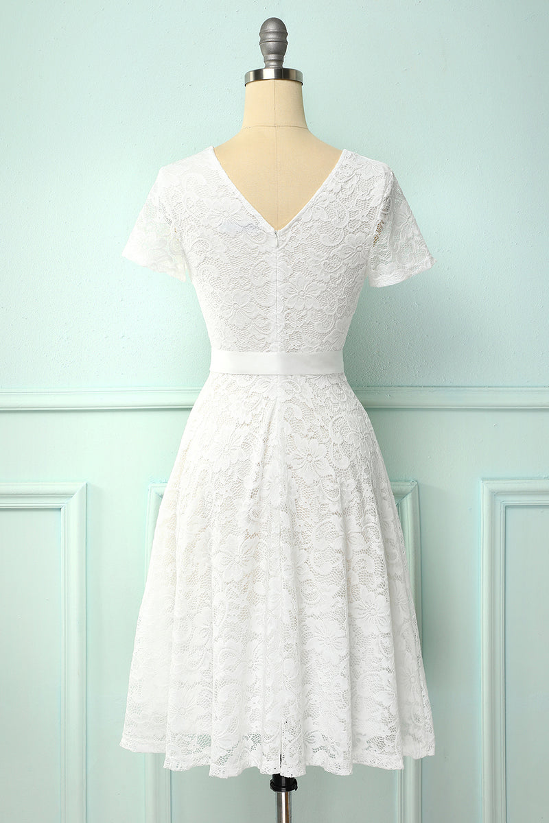 Load image into Gallery viewer, White Short Sleeves Lace Dress
