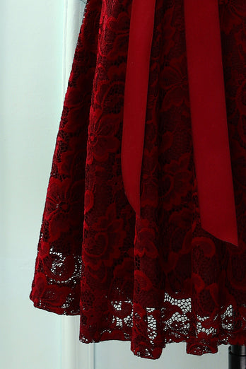 Burgundy Short Sleeves Lace Dress