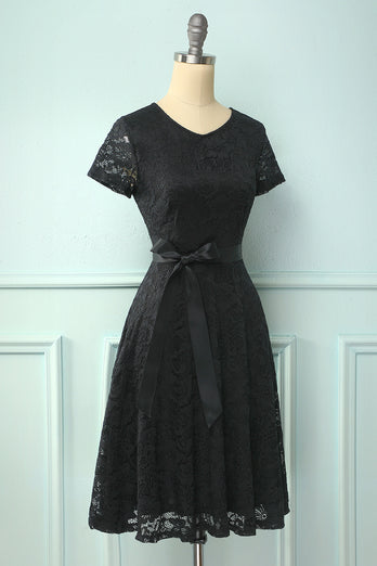 Black Short Sleeves Lace Dress